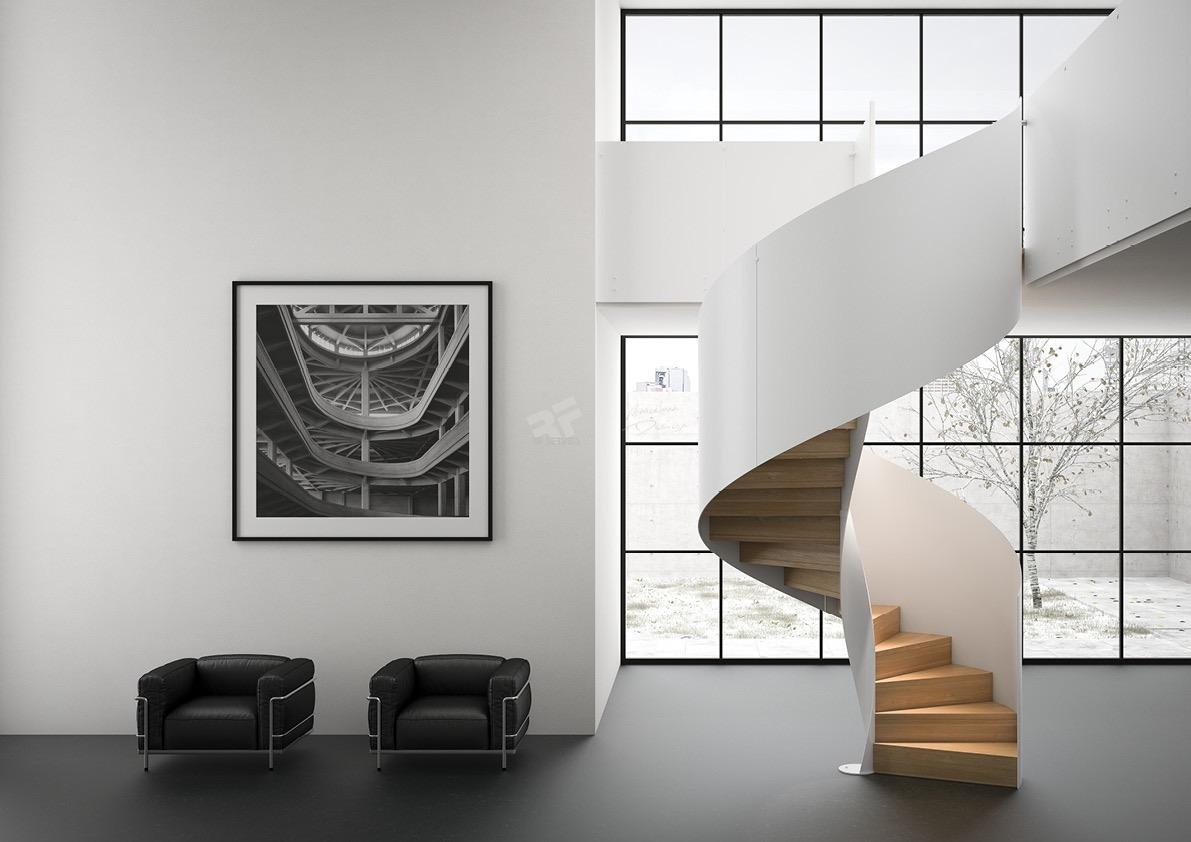 Escalera blanca de diseño en espiral RFserveis
